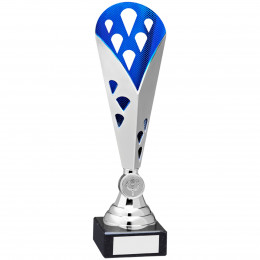 Silver & Blue Tall Plastic Triangle Trophy