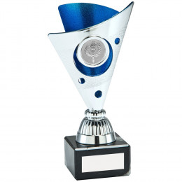 Silver & Blue Tri-Dot Trophy