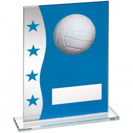 Blue & Silver Printed Glass Plaque With Gaelic Football Image Trophy