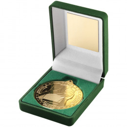 Green Velvet Box and 50mm Medal Gaelic Football Trophy