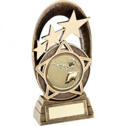 Bronze Generic Tri-Star Oval With Shooting Insert Trophy