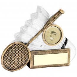 Badminton Shuttlecock And Racket Chunky Flatback Trophy