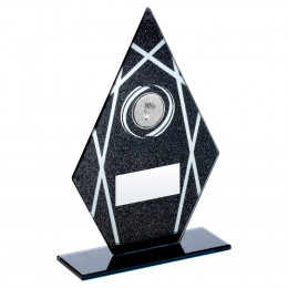 Black & Silver Printed Glass Diamond With Badminton Insert Trophy