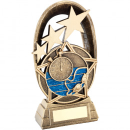 Swimming Tri-Star Oval Plaque Trophy
