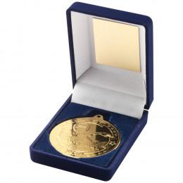 Blue Velvet Box and 50mm Medal Swimming Trophy