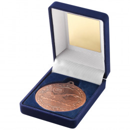 Blue Velvet Box and 50mm Medal Swimming Trophy