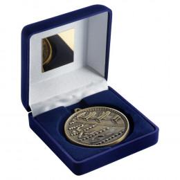 Blue Velvet Box And 60Mm Medal Swimming Trophy - Antique Gold