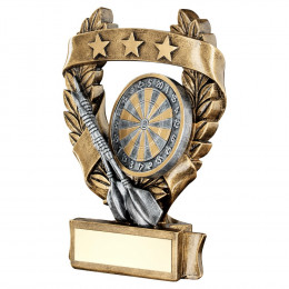 Bronze & Pewter Darts 3 Star Wreath Award Trophy