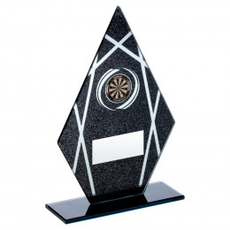 Black & Silver Printed Glass Diamond With Darts Insert Trophy