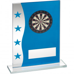 Printed Glass Plaque With Dartboard Image Trophy