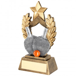 Orange Table Tennis Wreath Shield With Gold Star Trophy