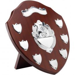 Mahogany Shield With Chrome Fronts & 7 Record Shields