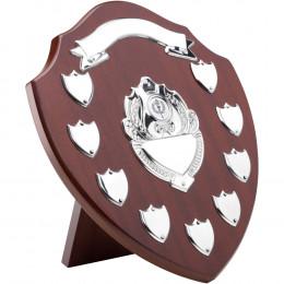 Mahogany Shield With Chrome Fronts & 9 Record Shields