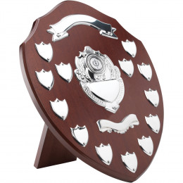 Mahogany Shield With Chrome Fronts & 13 Record Shields