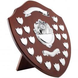 Mahogany Shield With Chrome Fronts & 17 Record Shields
