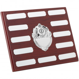 Rosewood Plaque With Chrome Fronts & 12 Plates