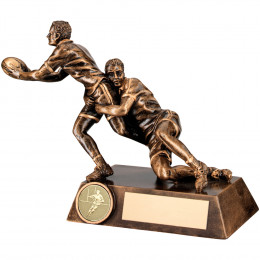 Double Rugby 'Tackle' Figure Trophy