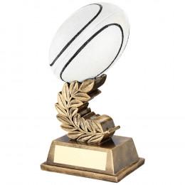 White Rugby Ball On Laurel Leaf Trophy