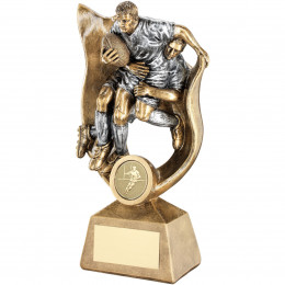 Rugby 'Tackle' Figures In Ribbon Trophy