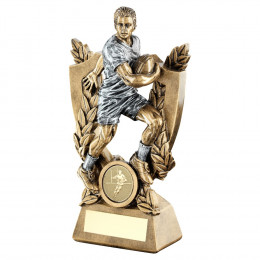 Bronze & Pewter Male Rugby On Shield And Wreath Trophy