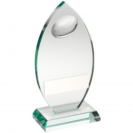 Jade Glass Plaque With Half Rugby Ball Trophy