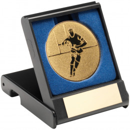 Black Plastic Box With Rugby Insert Trophy