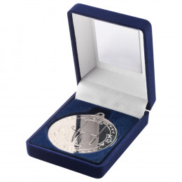 Blue Velvet Box and 50mm Medal Rugby Trophy