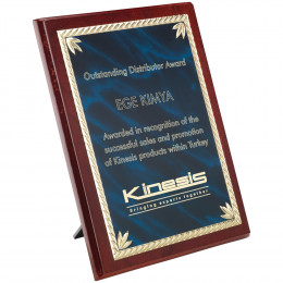 Rosewood Plaque With Blue & Aluminium Front