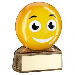 Bronze & Yellow 'Smiling Emoji' Figure Trophy