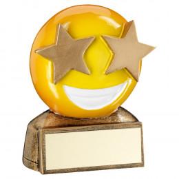 Bronze & Yellow 'Star Eyes Emoji' Figure Trophy