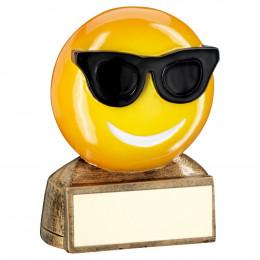 Bronze, Yellow & Black 'Sunglasses Emoji' Figure Trophy