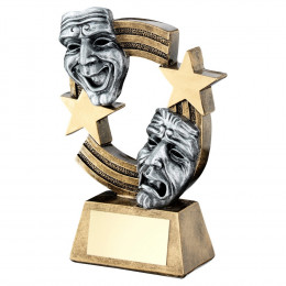 Bronze & Pewter Drama Masks With Stripes And Stars Trophy