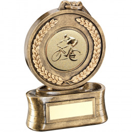 Medal And Ribbon With Cycling Insert Trophy