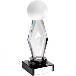 Clear Glass Lasered Pool/Snooker Column On Black Base Trophy