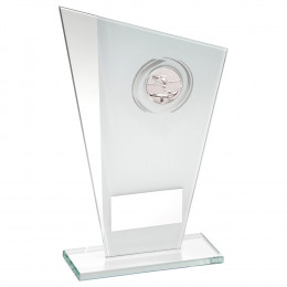 White & Silver Printed Glass Plaque With Pool & Snooker Insert Trophy