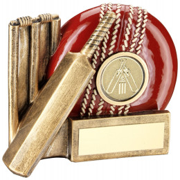 Cricket Ball, Bat And Stumps Chunky Flatback Trophy