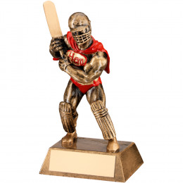 Bronze, Gold & Red Resin Cricket 'Hero' Trophy