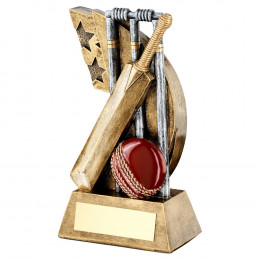 Bronze, Pewter & Red Cricket Stumps, Bat & Ball On Star Swoosh Trophy