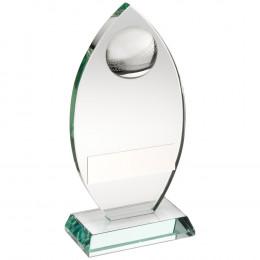 Jade Glass Plaque With Half Cricket Ball Trophy