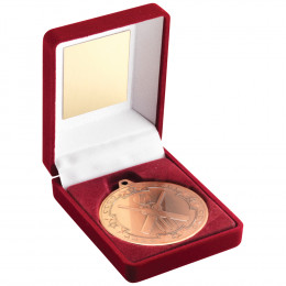 Red Velvet Box and 50mm Medal Cricket Trophy