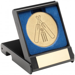 Black Plastic Box With Cricket Insert Trophy