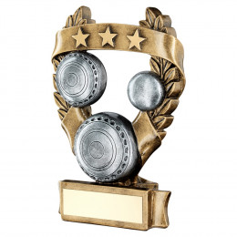 Bronze & Pewter Lawn Bowls 3 Star Wreath Award Trophy