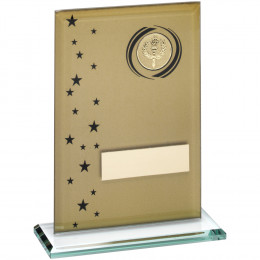 Printed Glass Rectangle With Wreath & Stars Trophy