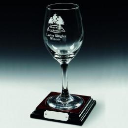 Single Wine Glass on Wood Base