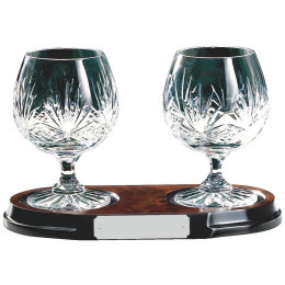 Two Crystal Brandy Balloons on Wood Base