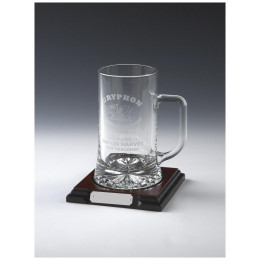 Glass Tankard on Wood Stand (Pint)