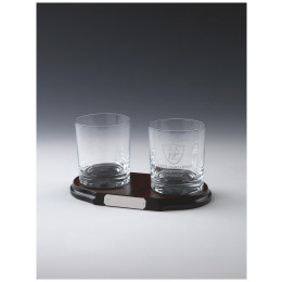 Two Spirit Tumblers on Wood Stand
