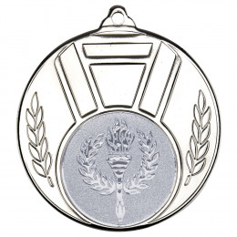 Ribbon And Leaf Medal Silver