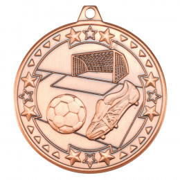 50mm Football 'Tri Star' Medal