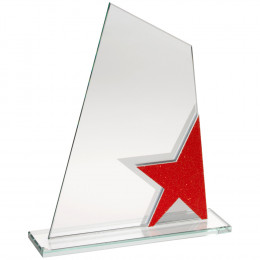 Jade Glass Plaque With Red & Silver Star Detail